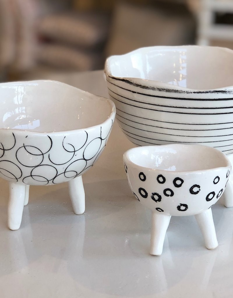 Black and White Footed Bowls