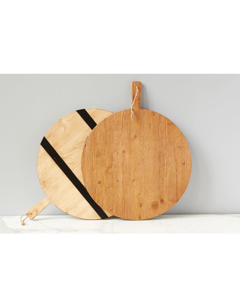 Large Black Striped Round Charcuterie Board