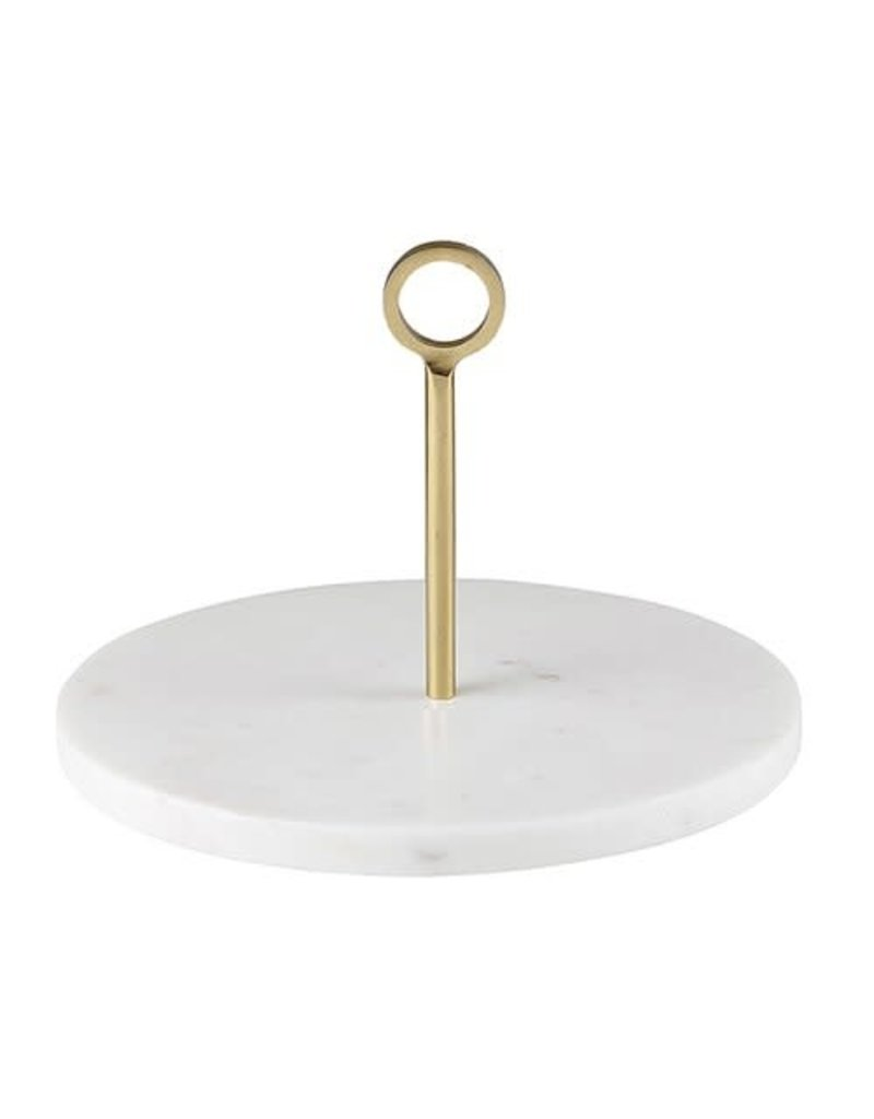 White Marble Server with Brass Handle
