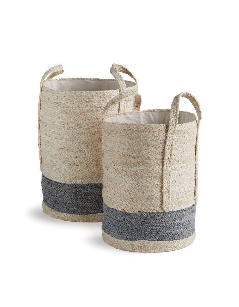 Natural-Gray Lined Round Baskets
