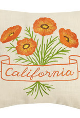 "12"" California Orange Poppy Flower Pillow"