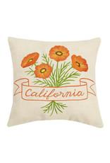 """12"""" California Orange Poppy Flower Pillow"""