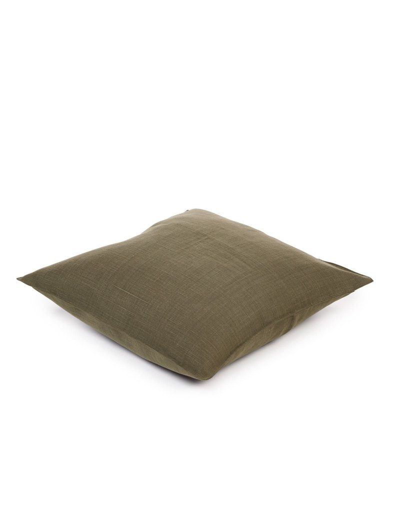 Olive Napoli Vintage Linen Throw Pillow