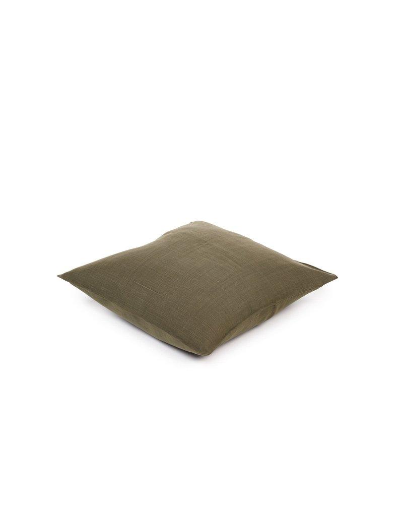 Olive Napoli Vintage Linen Throw Pillow