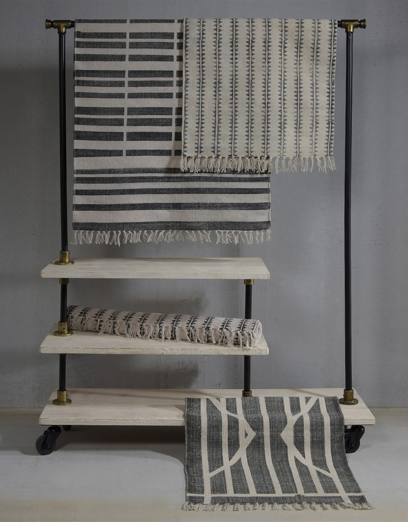 6 ft Block Print Cotton Rug - Sawtooth Stripe