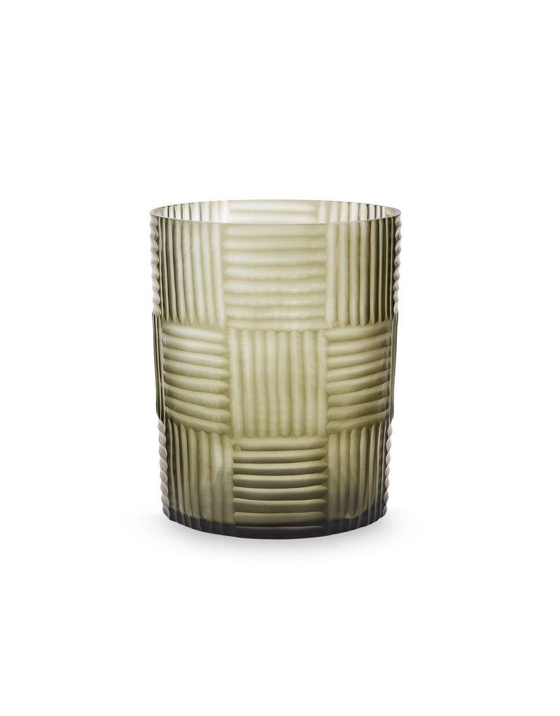 Clear Steel Gray Hurricane Vase