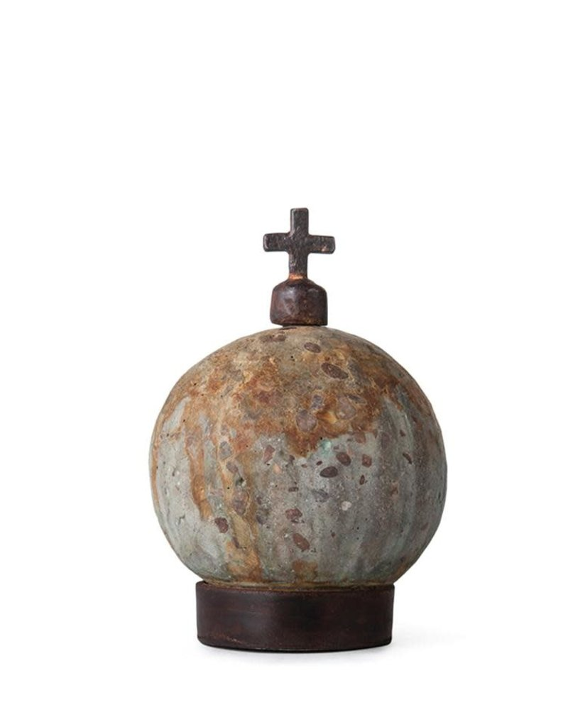 Stone World  with  Cast Iron Cross Paperweight
