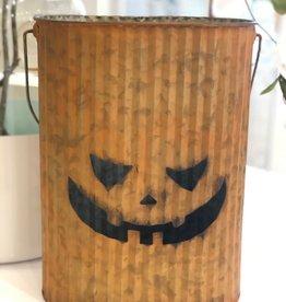 Metal Pumpkin Bucket -Large