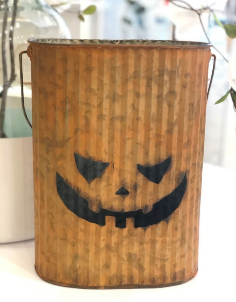 Orange Metal Pumpkin Bucket -Large