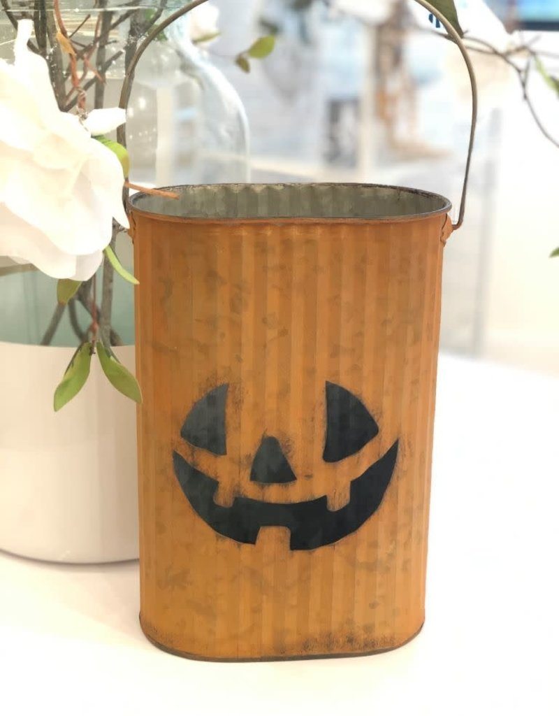 Orange Metal Pumpkin Bucket- Medium