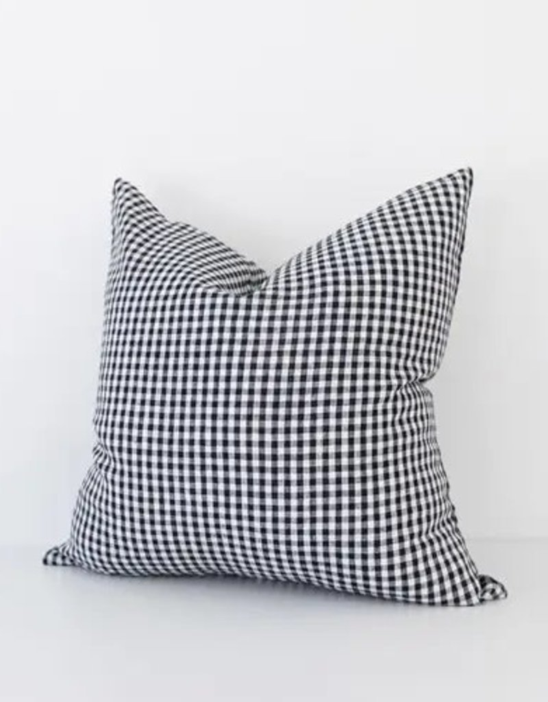 Black Gingham Check Throw Pillow