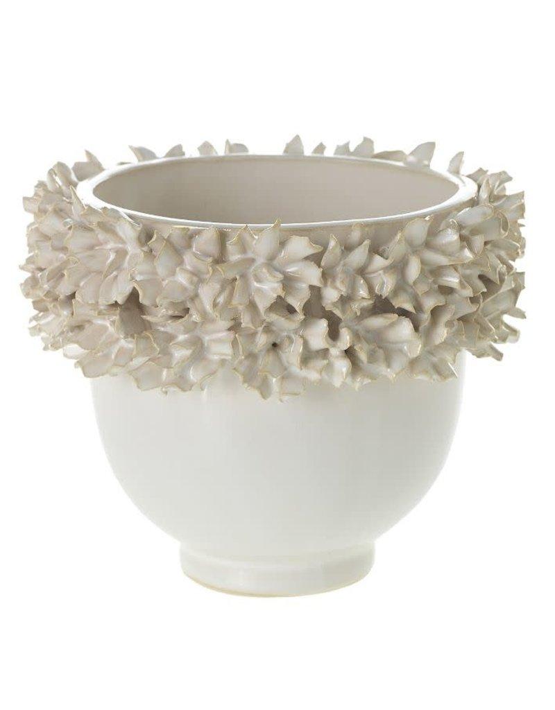 Small White Gardenia Planter with Ceramic Flowers