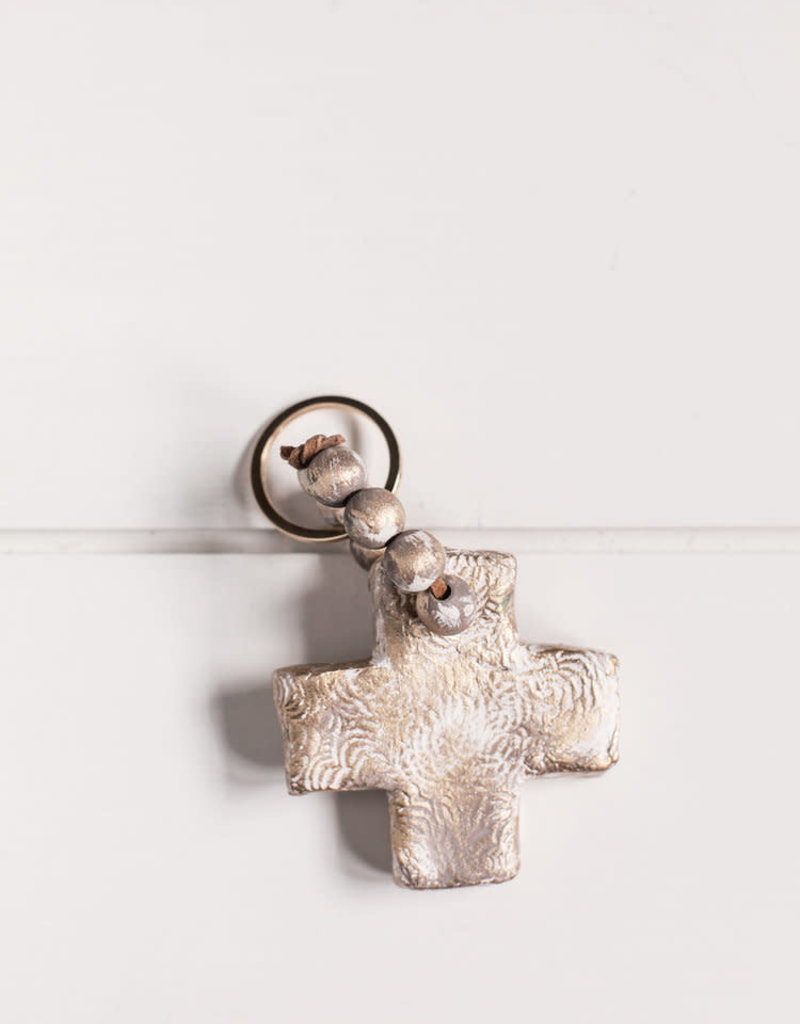 Gray Cross Key Chain
