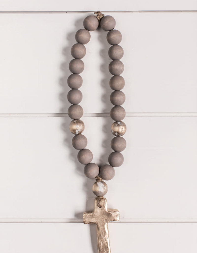 Norah Cross with Gray and Gold Beads