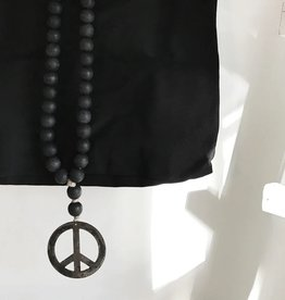 Modern Black Peace Sign Love Beads