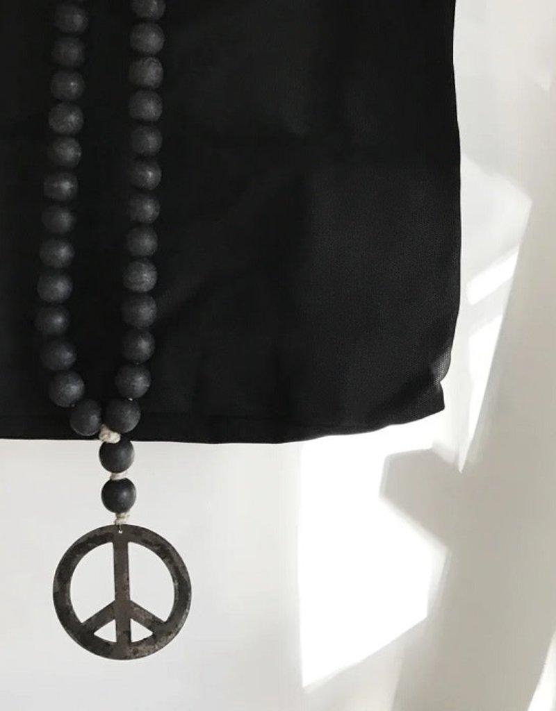 Modern Black Iron Peace Sign Love Beads