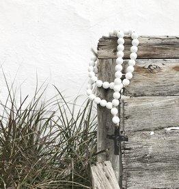 White Love Beads - Black Cross