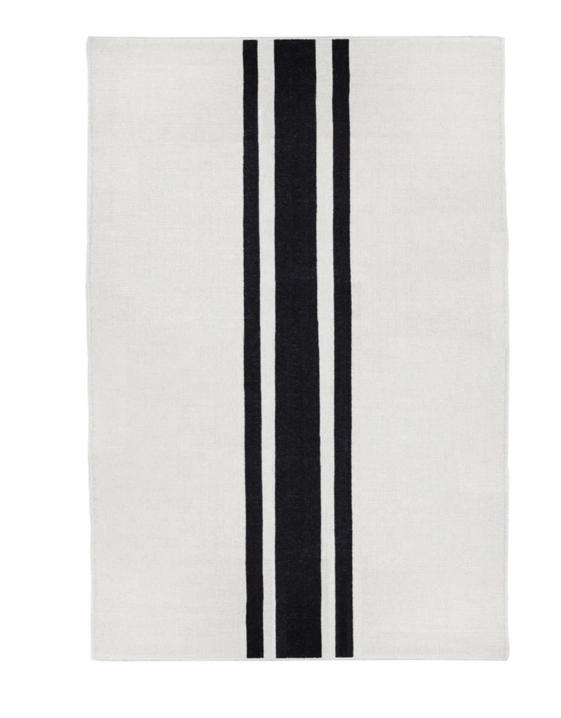 8' Beachwood Handwoven Ivory-Black Rug