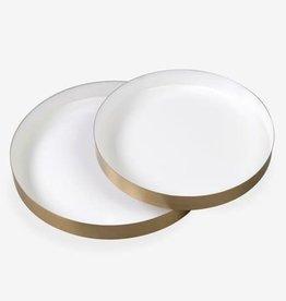 White Emamel Round Brass Tray- Small
