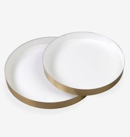 White Emamel Round Brass Tray- Large