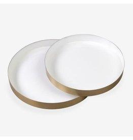 White Emamel Round Brass Tray- Large