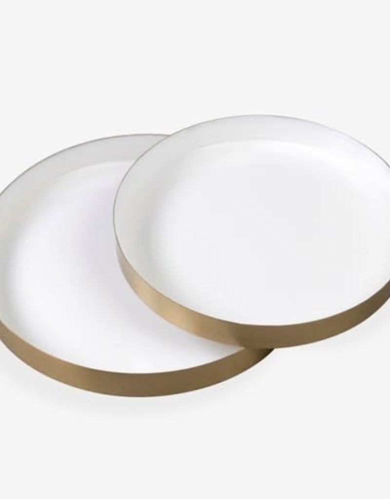 Large White Emamel Round Brass Tray