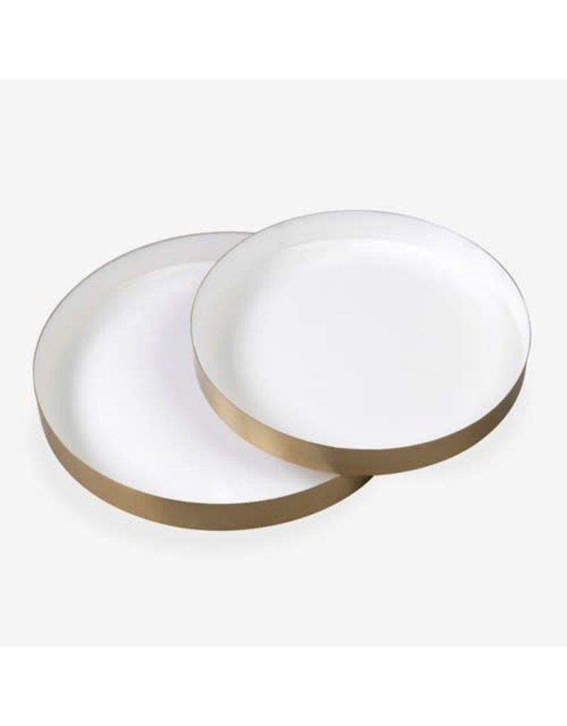 Large White Emamel Round Brass Tray