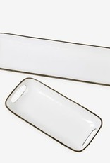 Small Rectangular Brass Tray with White Enamel