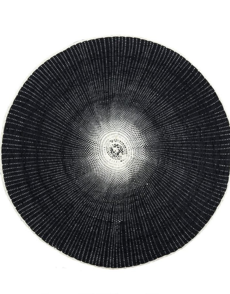 Black Round Woven Placemat