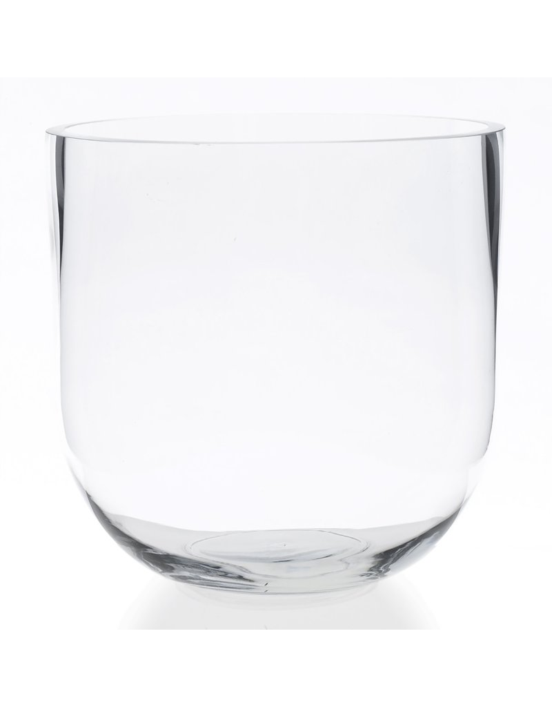 Large Clear Glass Fat Edge Vase