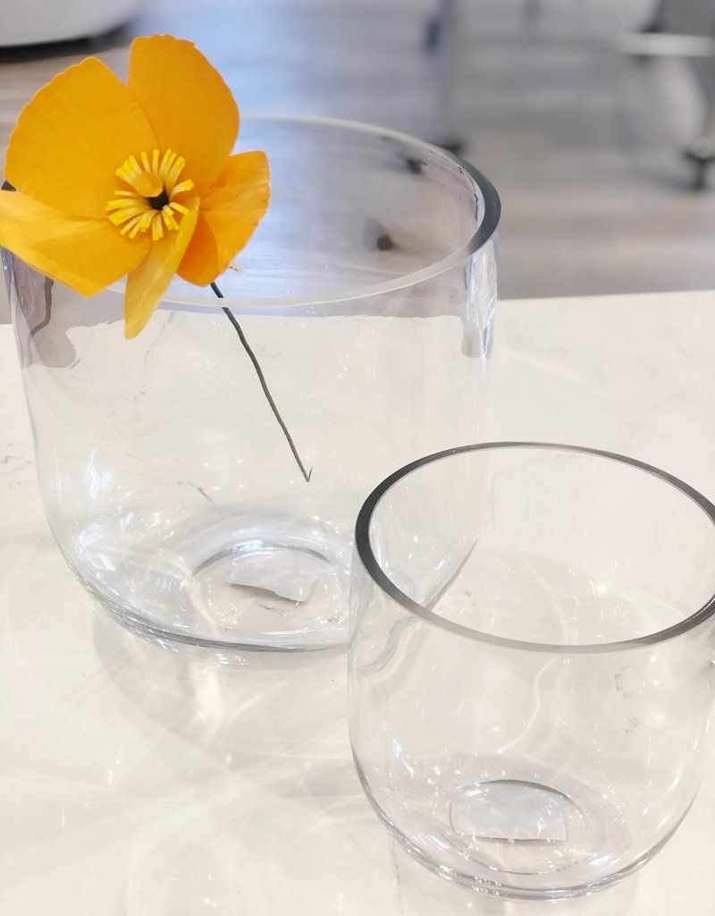 Small Clear Glass Fat Edge Vase