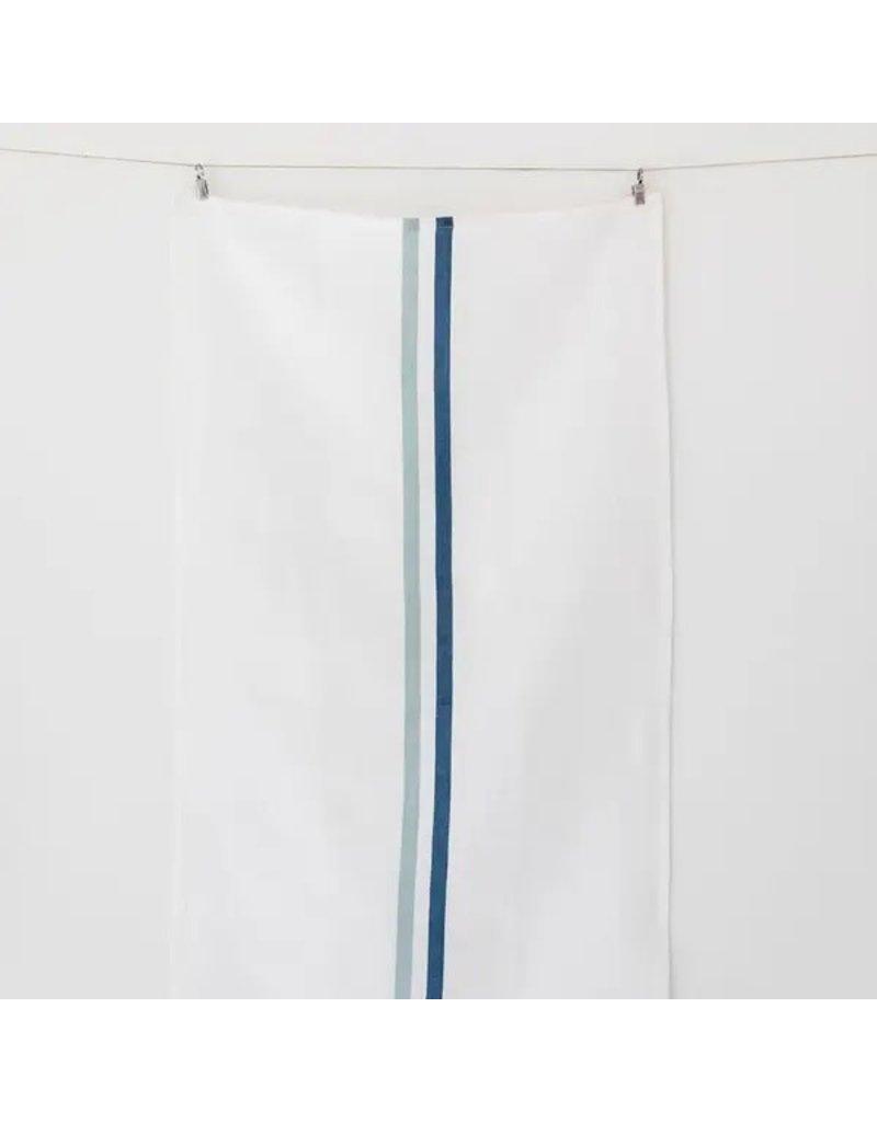 Two Blue Grain Stripe  Linen Tea Towel