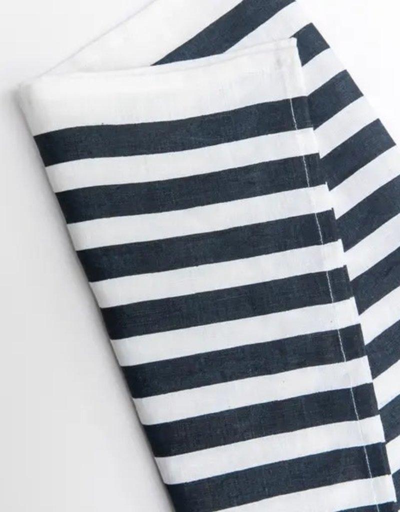 Medium Blue Stripe Navy Tea Towel