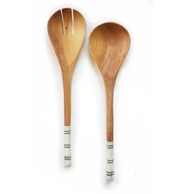 Olive Wood Striped Salad Servers