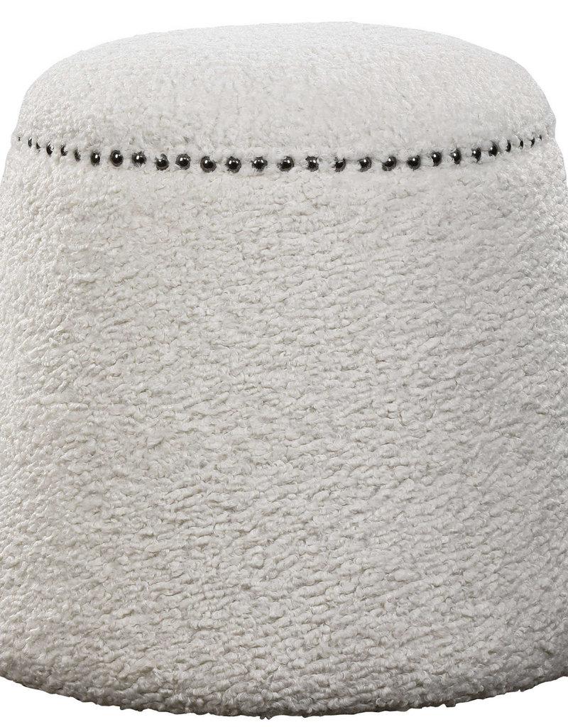 White Luxurious Shearling Ottoman
