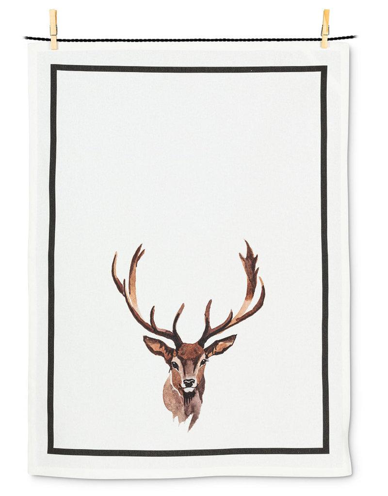 Stag Head Holiday Christmas Tea Towel