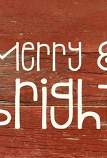 Red Merry & Bright Word Board- White Print