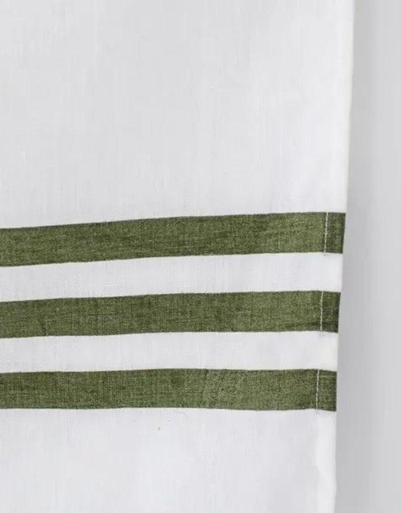 Cafe Stripe Olive Holiday Kitchen Tea Towel