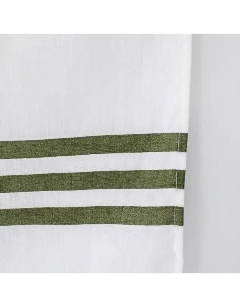 Cafe Stripe Olive Holiday Kitchen Tea Towel