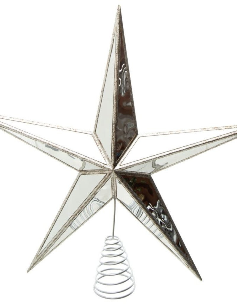 "Antique Silver Mirror Star Tree Topper-15.5"""