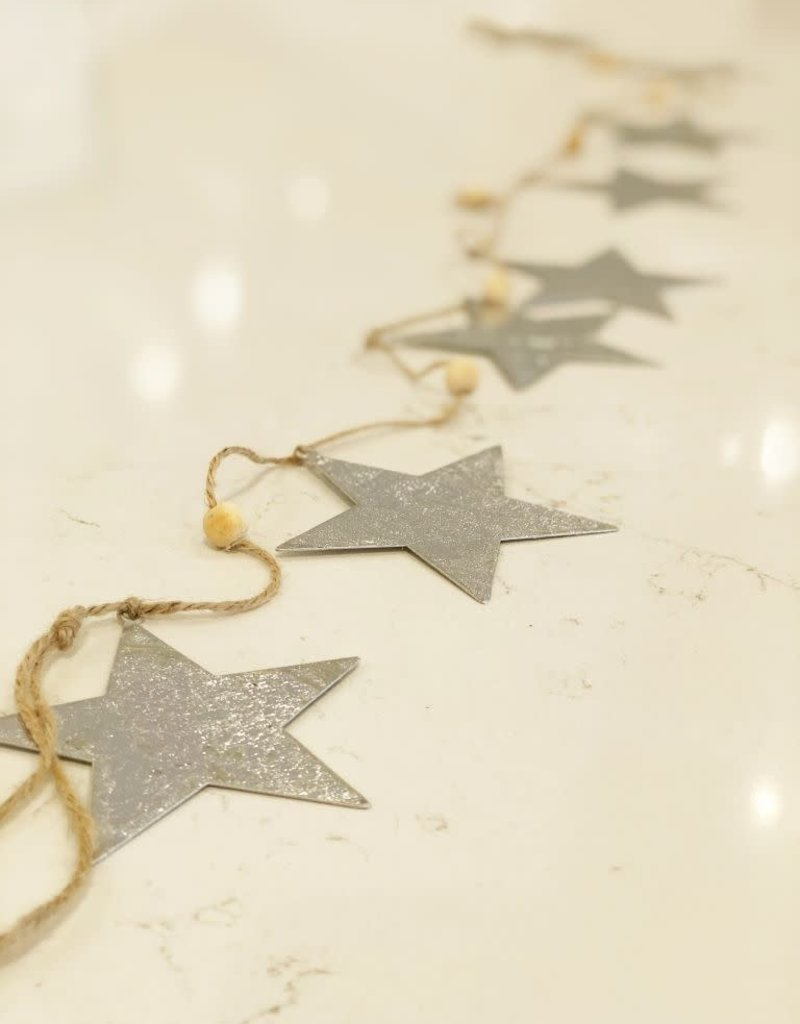 Silver Foil On Metal Starland Garland - 8 Stars