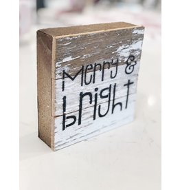 Merry & Bright Word Board - White Washed