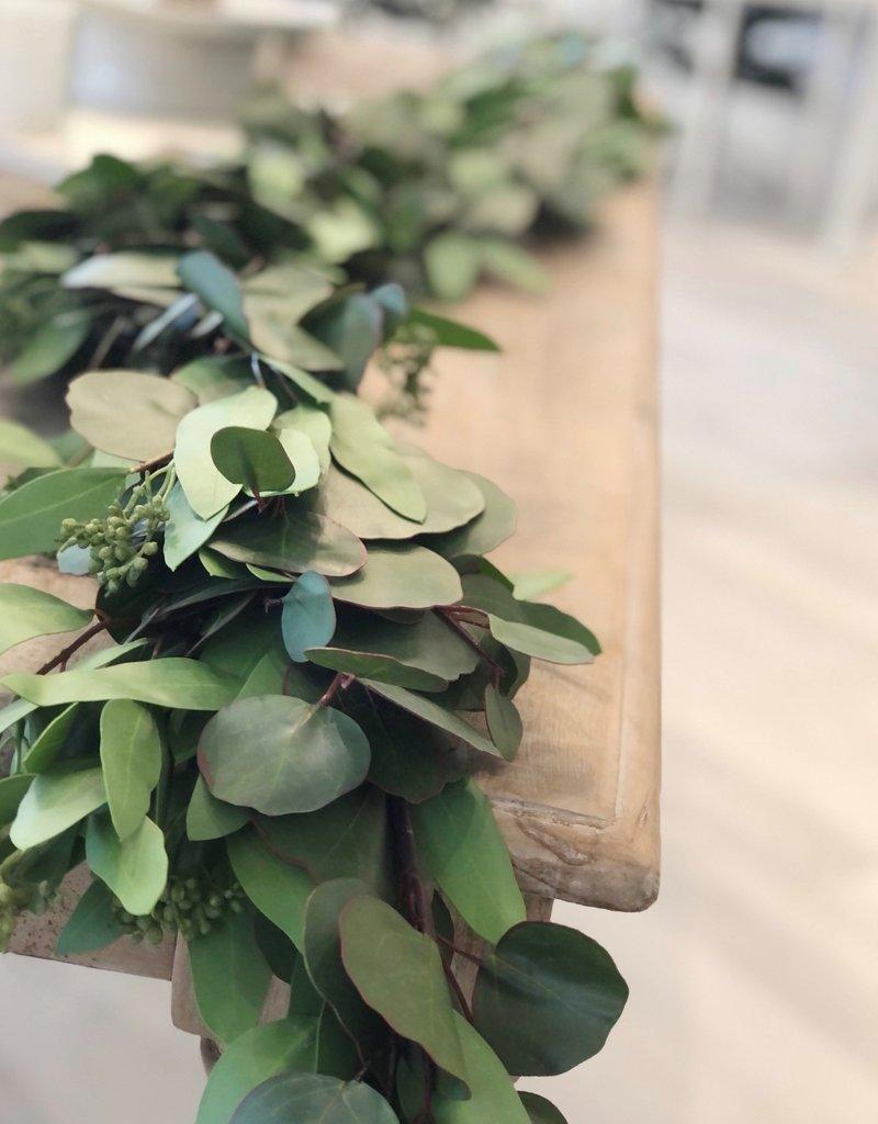 Mixed Green Eucalyptus Garland-4'