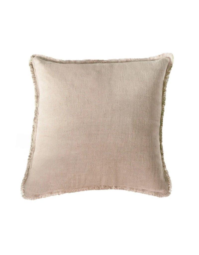 Beige Soft 100% Linen Throw Pillow
