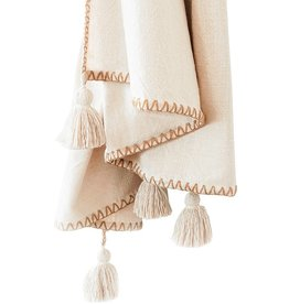 Blanket Stitch Throw with Tassels