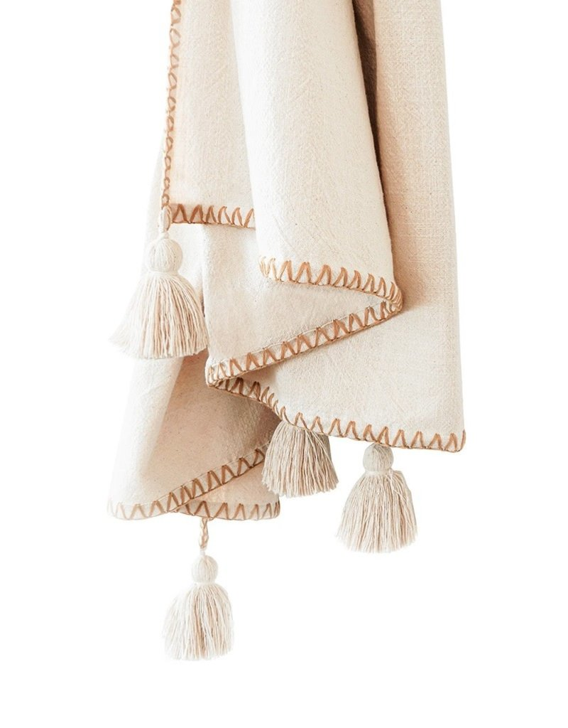 Natural Beige Blanket Stitch Throw - Tassels