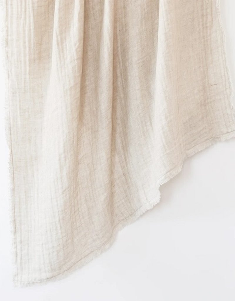 Natural Beige Crinkled Double Weave Linen Throw