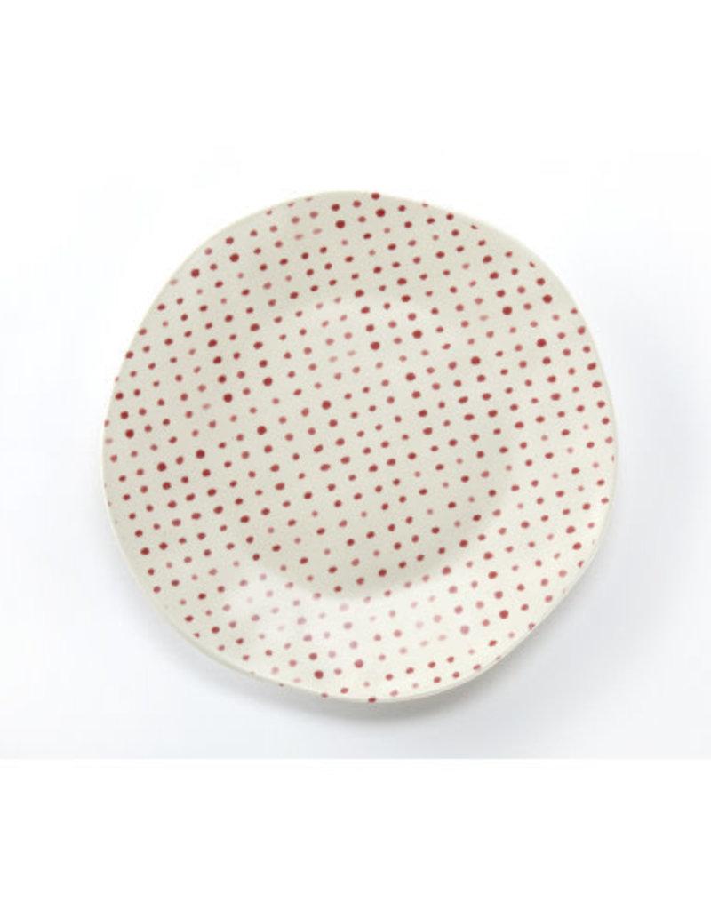 Red Polka Dot Dinner Plate