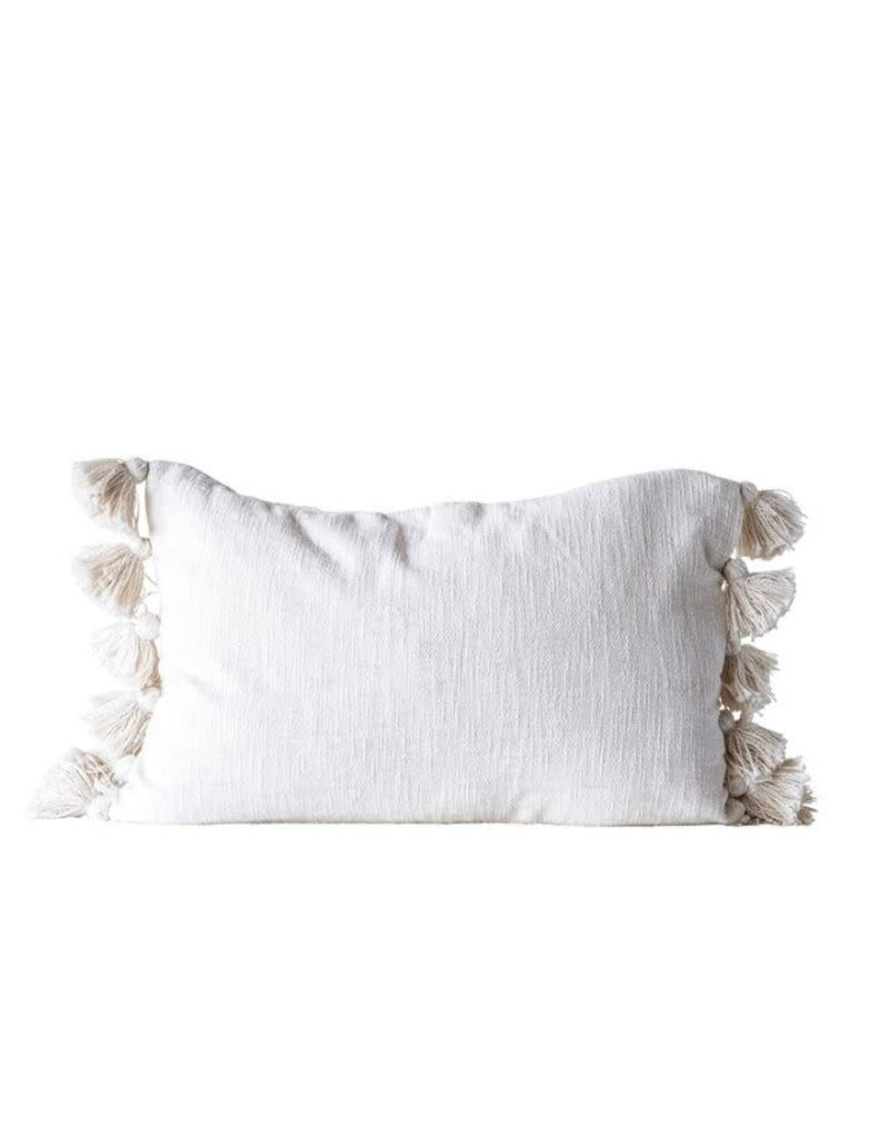 Cream Cotton Woven Slub Tassel Pillow