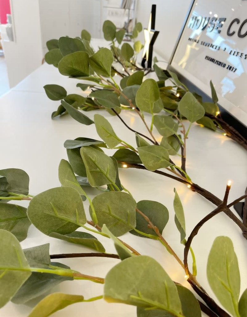 "48 LED  Pre-Lit Eucalyptus Garland - 72"""